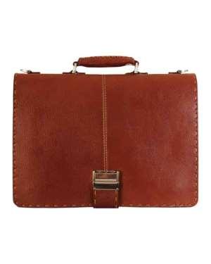 کیف اداری چرم طبیعی تک قفل دوربافت کد E150